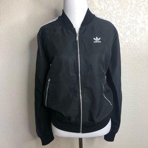 Adidas women's black mesh back bomber jacket